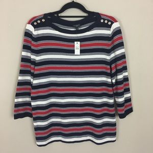 Talbots Classic Stripe 3/4 Sleeves Knit Top Size X